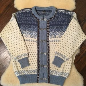 Dale of Norway blue and cream wool cardigan